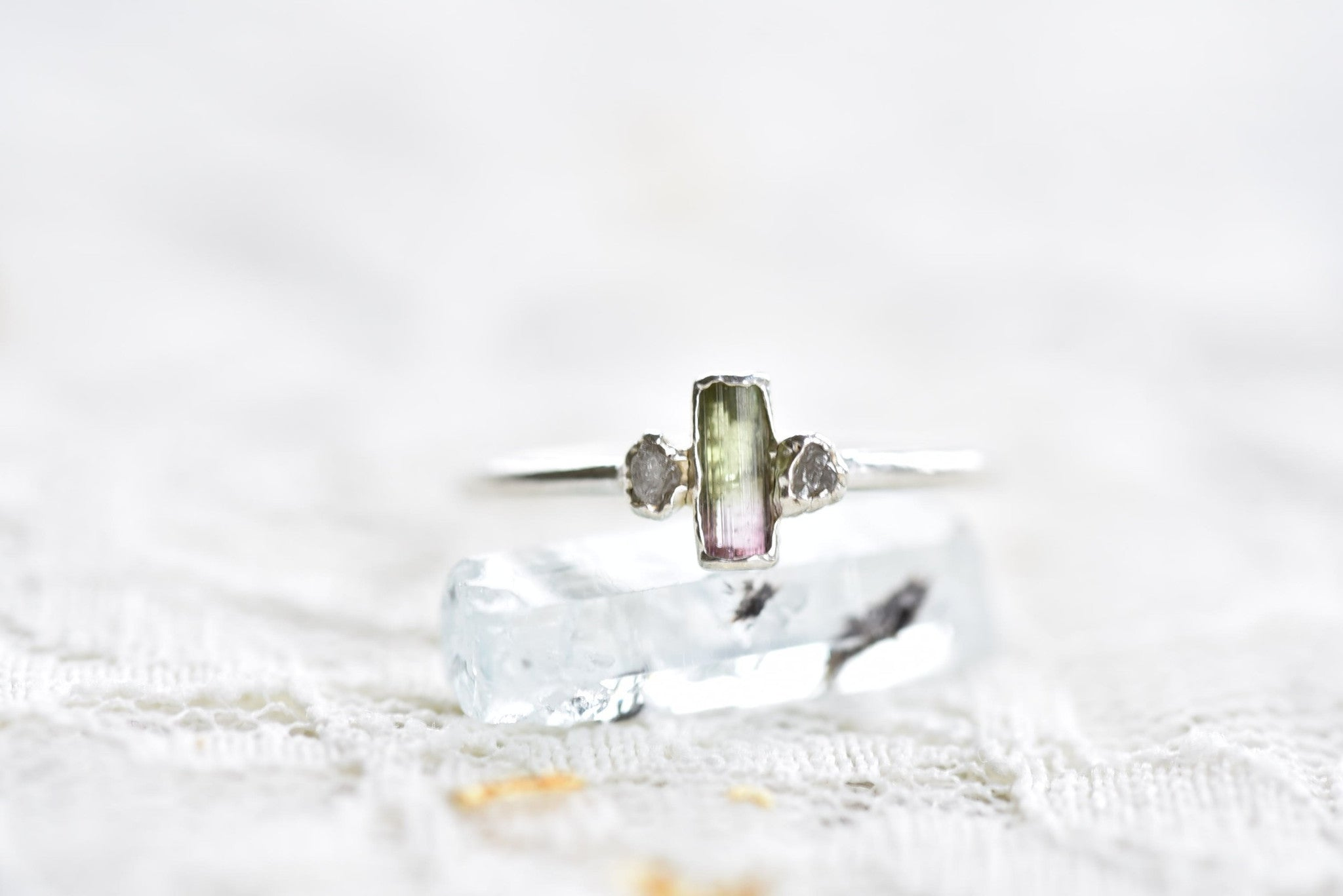 WATERMELON TOURMALINE CRYSTAL AND ROUGH DIAMOND RING IN FINE SILVER