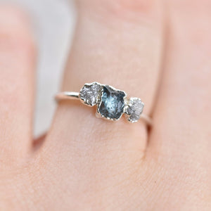 RAW AQUAMARINE ROUGH DIAMOND RING IN FINE SILVER