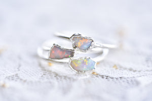 RAW AUSTRALIAN OPAL RING IN FINE SILVER