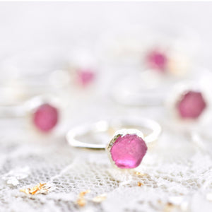 RAW RUBY RING IN FINE SILVER