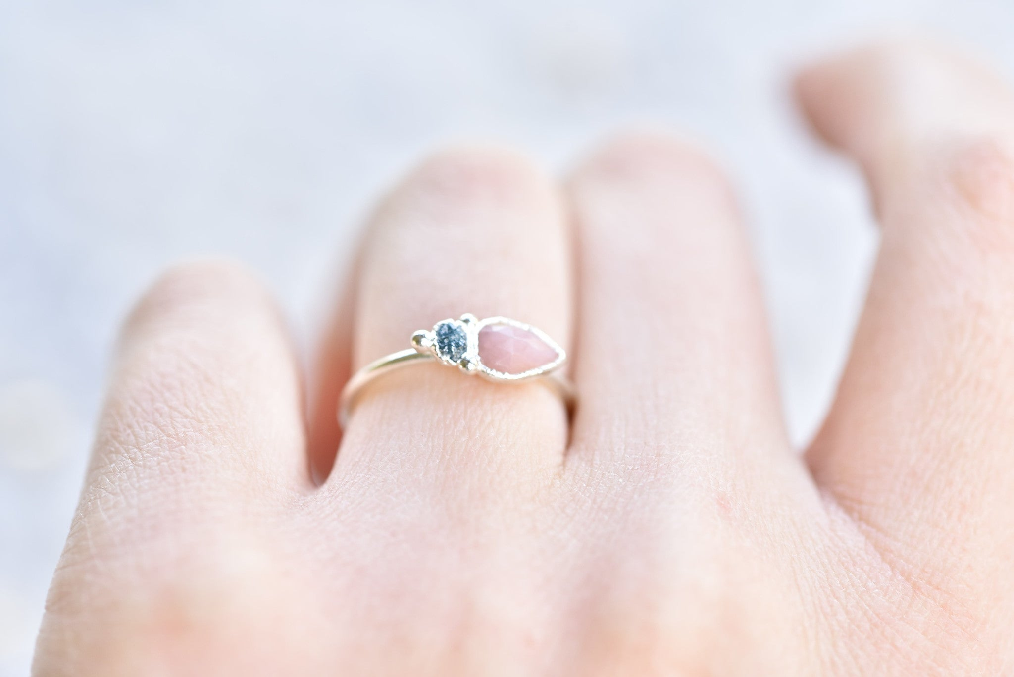 PINK OPAL AND ROUGH BLUE DIAMOND RING IN FINE SILVER