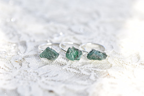 RAW EMERALD RING IN FINE SILVER (LARGE STONE VERSION)