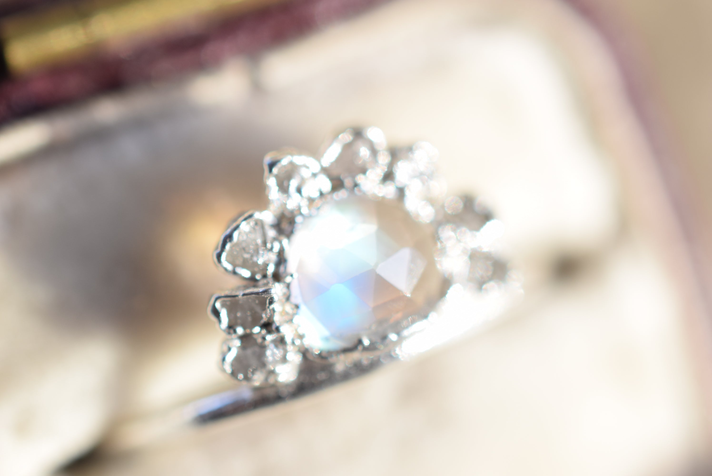 MOONSTONE AND RAW DIAMOND RING IN FINE SILVER