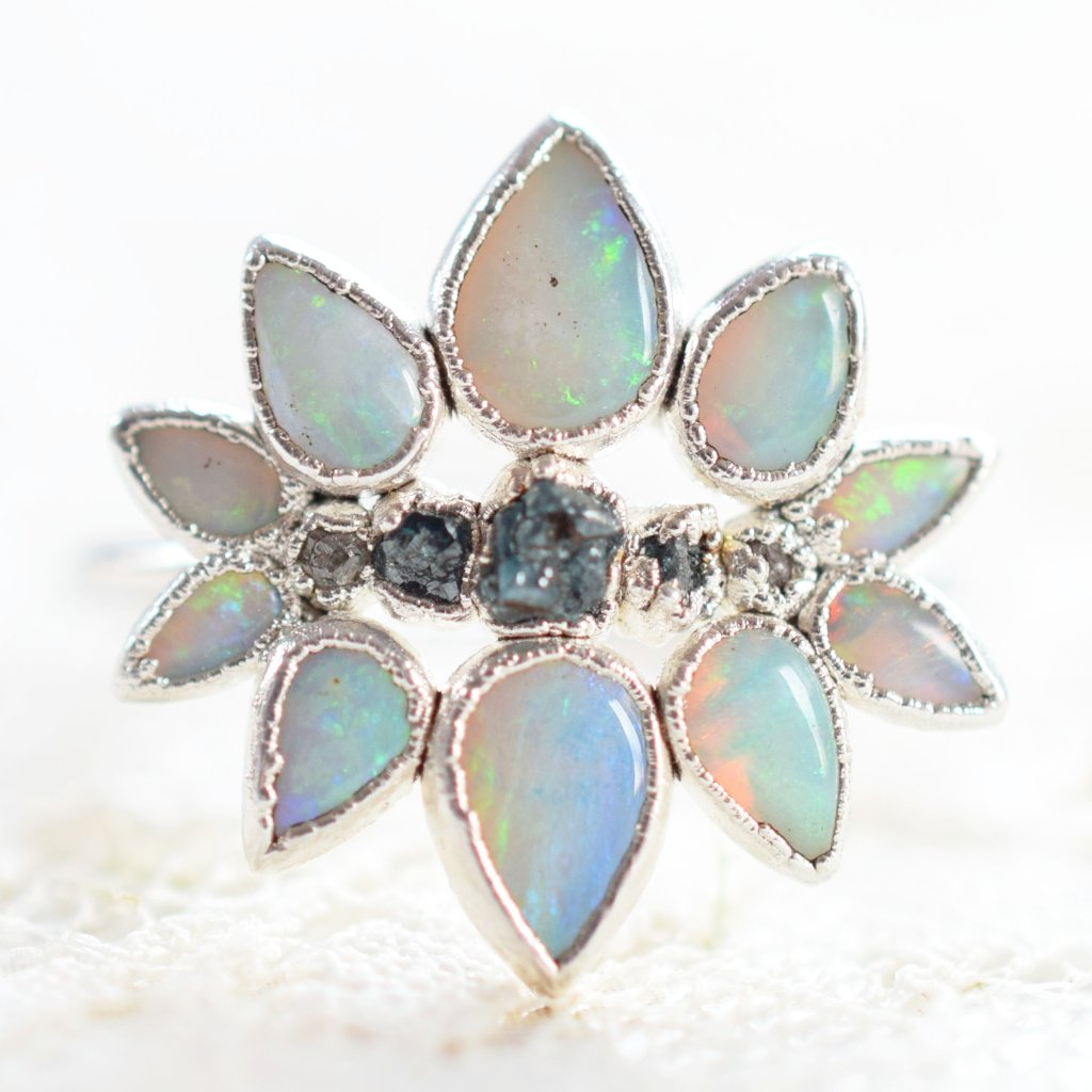 OPAL & ROUGH DIAMOND 'SUPERNOVA' RING IN FINE SILVER