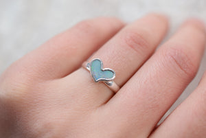 OPAL DOUBLET HEART RING IN FINE SILVER