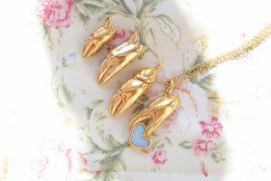 REAL CRAB CLAW AND OPAL HEART NECKLACE IN FINE GOLD