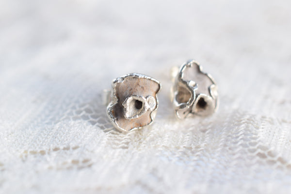 BRITISH 'HAG STONE' STUD EARRINGS IN FINE SILVER