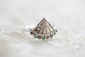 REAL MEDIEVAL COIN WITH ROUGH DIAMOND& EMERALD IN FINE SILVER