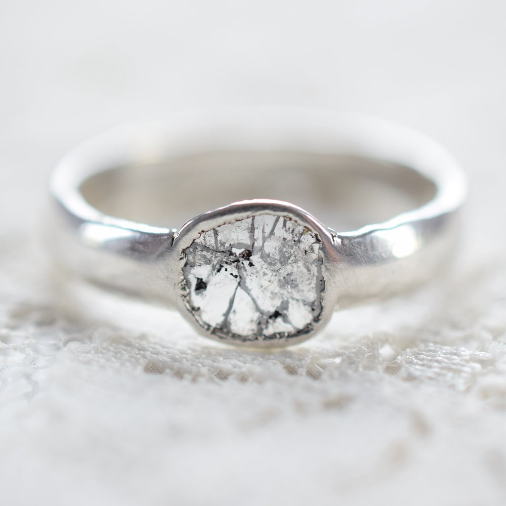 DIAMOND SLICE 'WINDOW' RING IN FINE SILVER