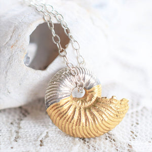 BRITISH AMMONITE FOSSIL NECKLACES IN FINE SILVER AND GOLD