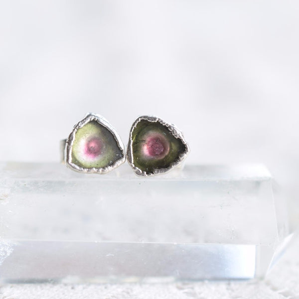 ROUGH WATERMELON TOURMALINE STUD EARRINGS IN FINE SILVER
