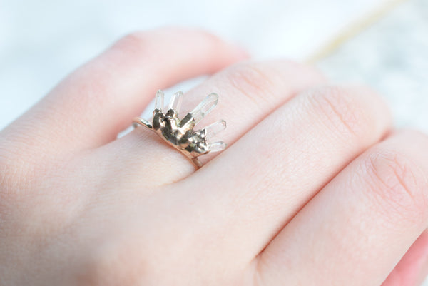 QUARTZ CRYTAL CROWN RING IN RECYCLED COPPER