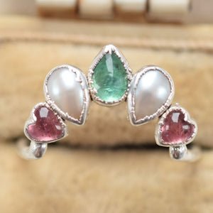 EMERALD, PEARL & PINK TOURMALINE RING IN FINE SILVER