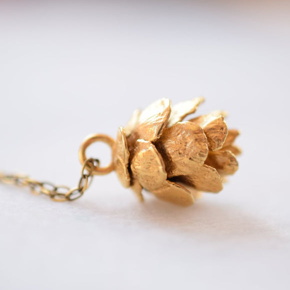 REAL PINE CONE NECKLACE IN FINE GOLD