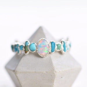 ONE-OF-A-KIND ANTIQUE OPAL AND ROUGH TURQUOISE RING IN FINE SILVER