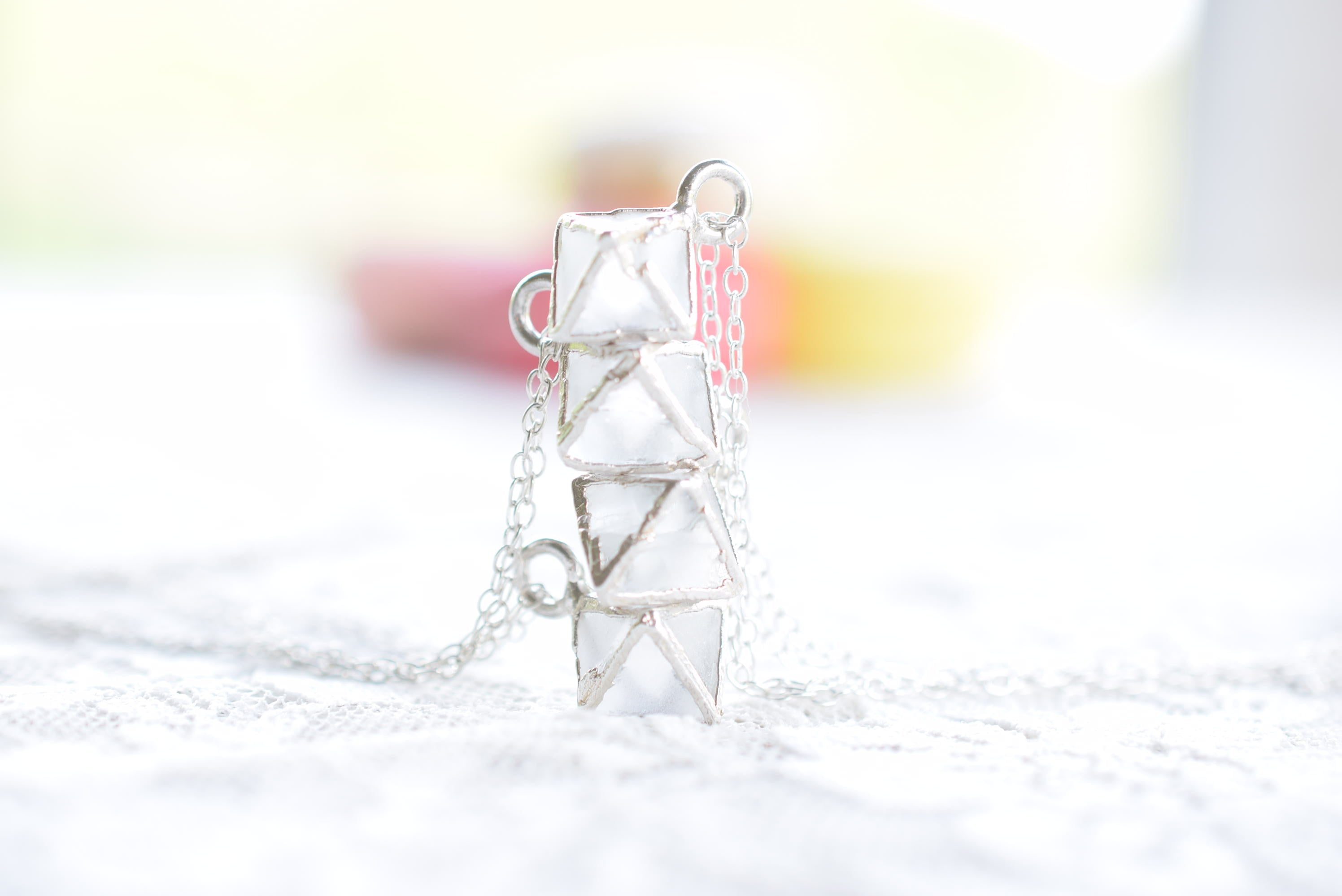 DAINTY OCTAHEDRON FLUORITE CRYSTAL NECKLACE IN FINE SILVER