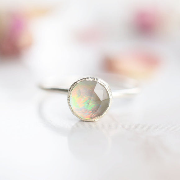 ROSE CUT QUARTZ AND OPAL RING IN FINE SILVER
