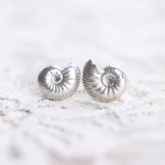 REAL BRITISH AMMONITE FOSSIL STUD EARRINGS IN FINE SILVER