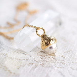 REAL ENGLISH ACORN NECKLACE IN FINE SILVER & GOLD