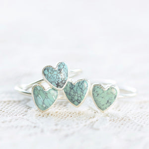TURQUOISE HEART RING IN FINE SILVER