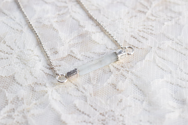 RAW AQUAMARINE CRYSTAL BAR NECKLACE IN FINE SILVER