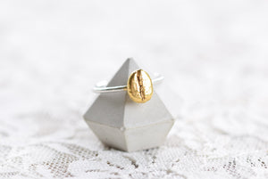 REA COFFEE BEAN RING IN FINE SILVER AND GOLD