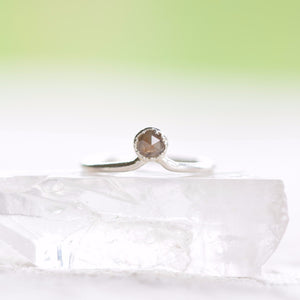 ROSE CUT BROWN DIAMOND RING IN FINE SILVER