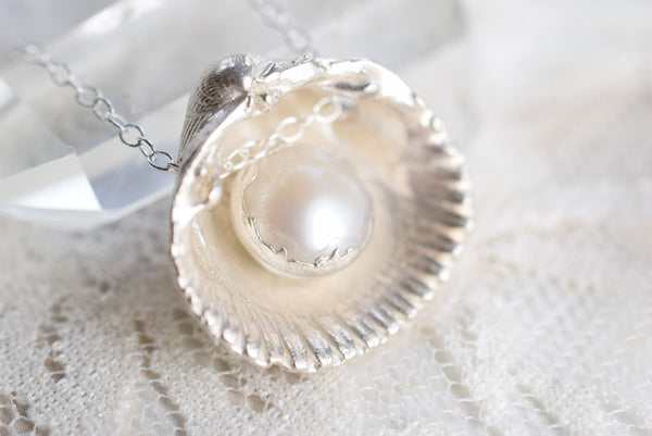 REAL SHELL AND FRESHWATER PEARL NECKLACES IN FINE SILVER