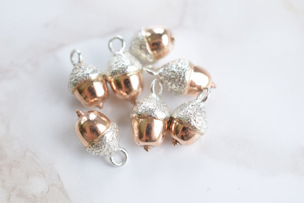 REAL ENGLISH ACORN NECKLACE IN FINE SILVER & ROSE GOLD