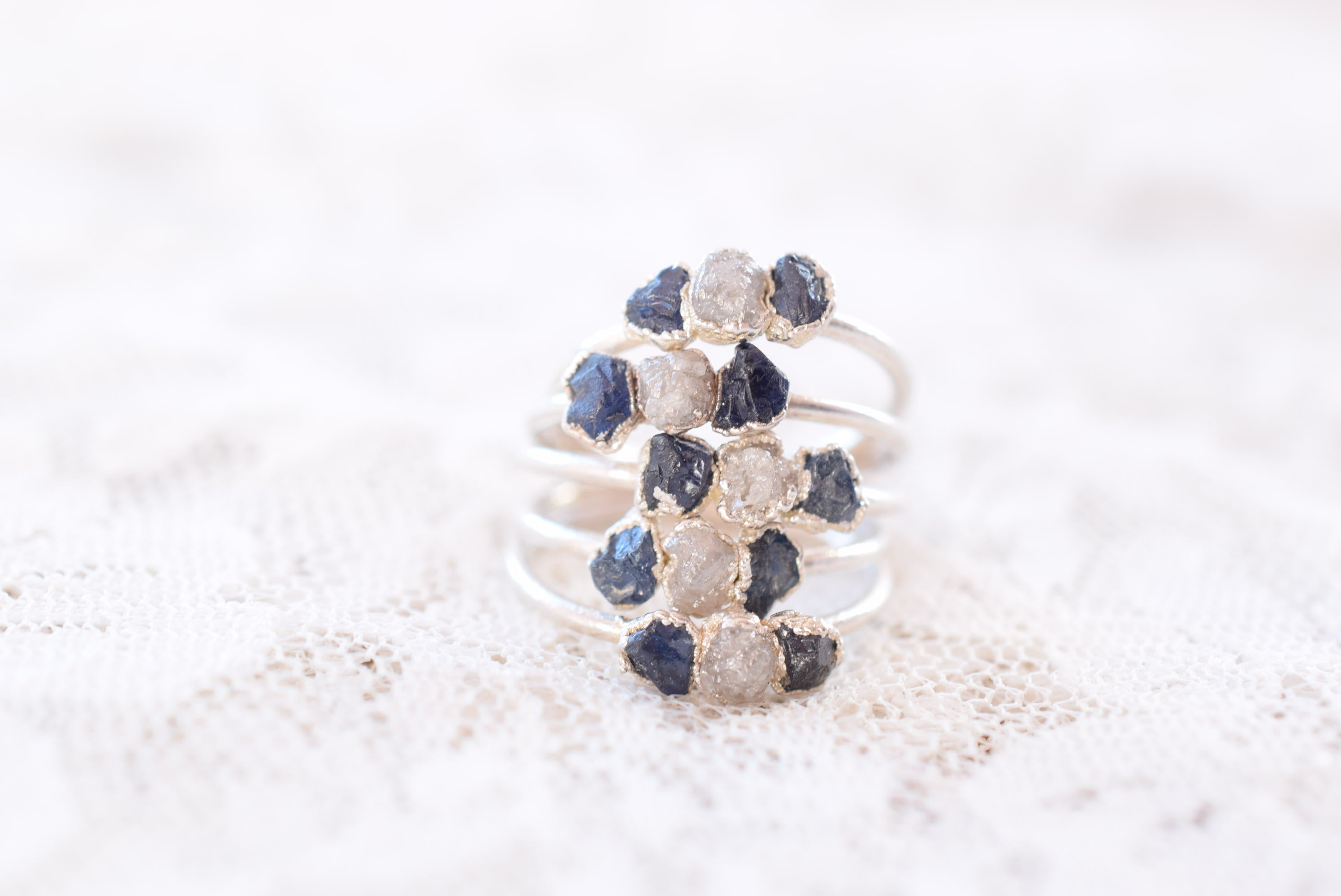 THREE STONE ROUGH SAPPHIRE AND DIAMOND RING IN FINE SILVER