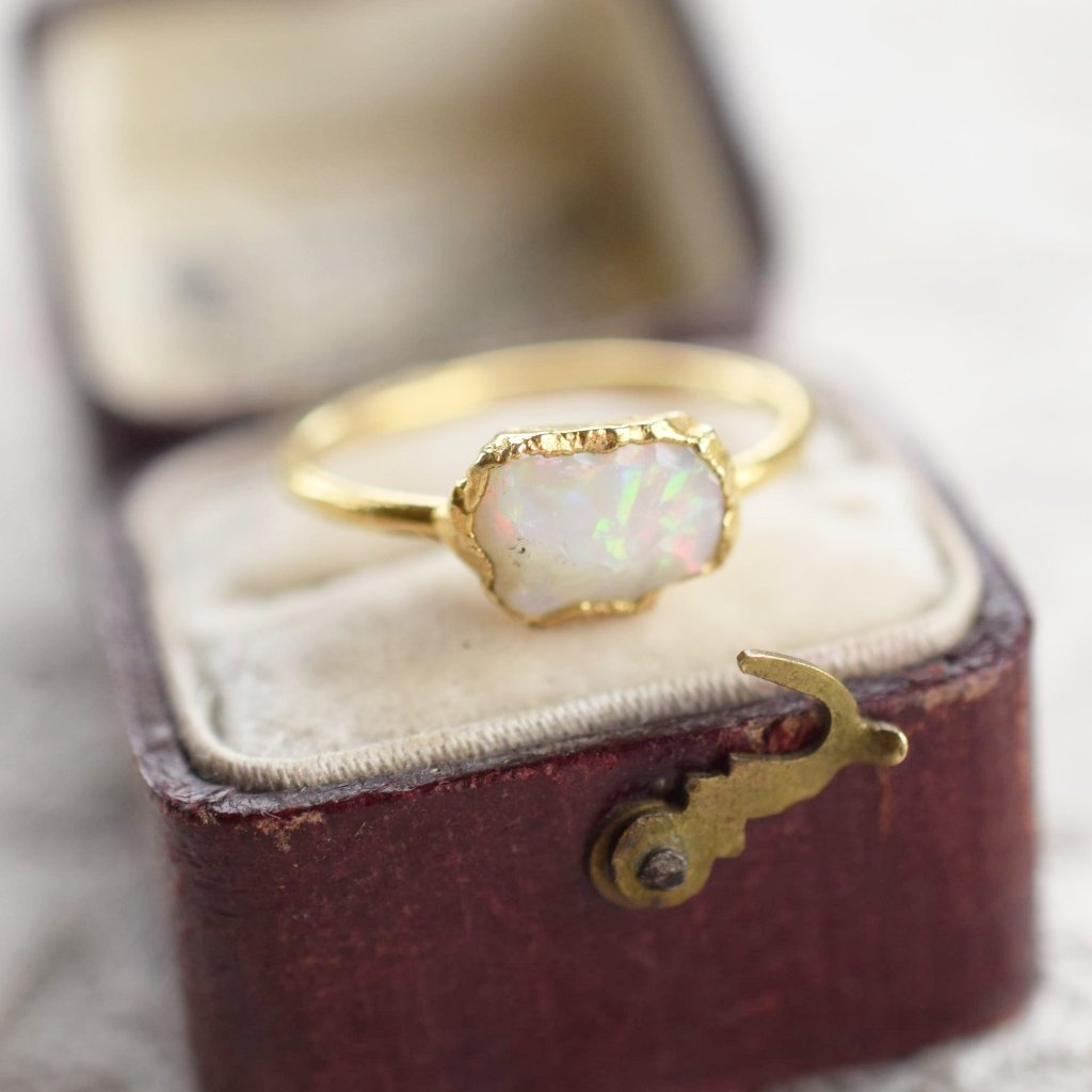 RAW AUSTRALIAN OPAL RING IN GOLD PLATED FINE SILVER
