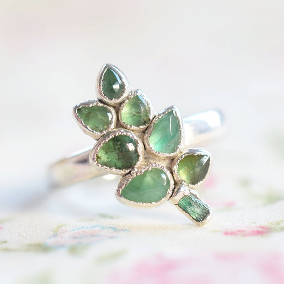 EMERALD 'GREEN GARDEN' LEAF RING IN FINE SILVER