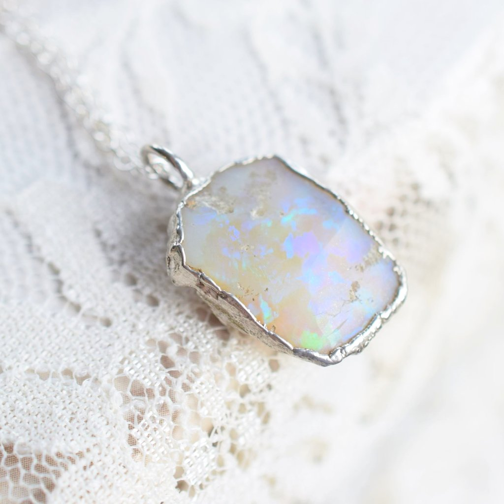ROUGH OPAL CHUNK NECKLACE IN FINE SILVER