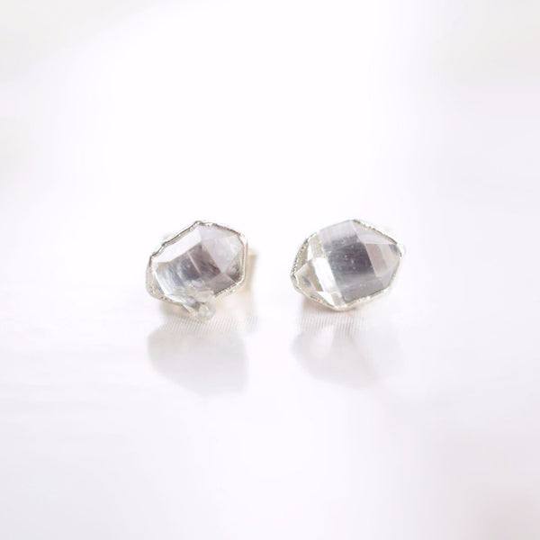 HERKIMER DIAMOND STUD EARRINGS IN FINE SILVER