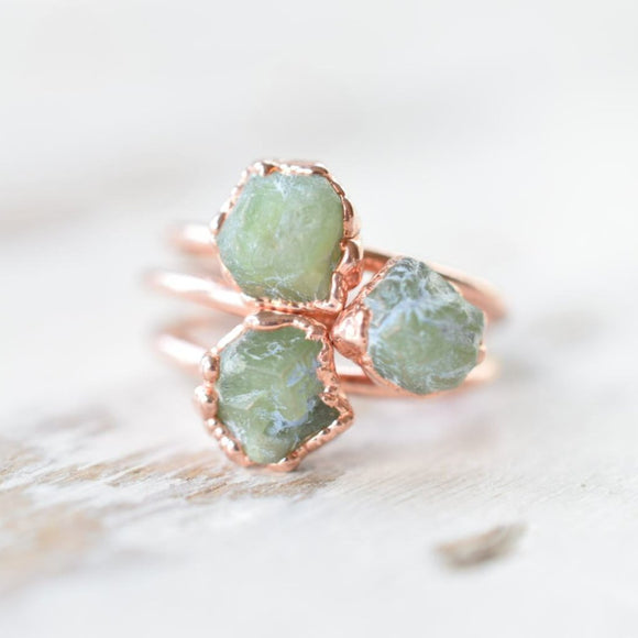 RAW GREEN GARNET RING IN RECYCLED COPPER