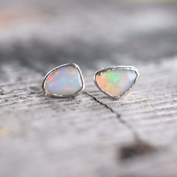 FREE-FORM OPAL STUD EARRINGS IN FINE SILVER