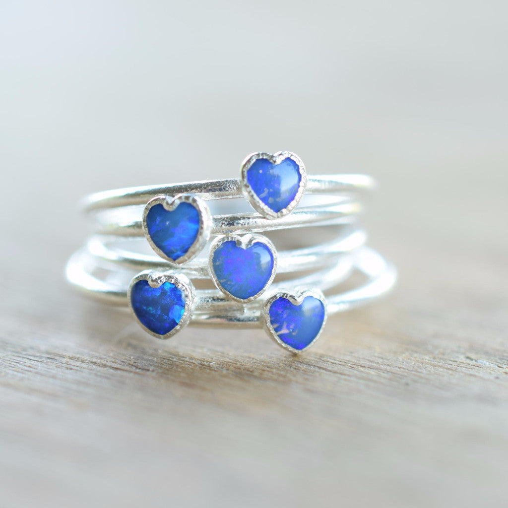 BLUE OPAL HEART RING IN FINE SILVER
