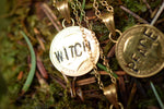 ANTIQUE SILVER THREE PENCE COIN NECKLACE 'WITCH' IN GOLD
