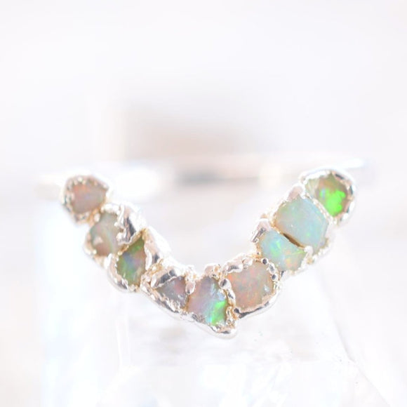 MULTI STONE RAW AUSTRALIAN OPAL CHEVRON RING IN FINE SILVER