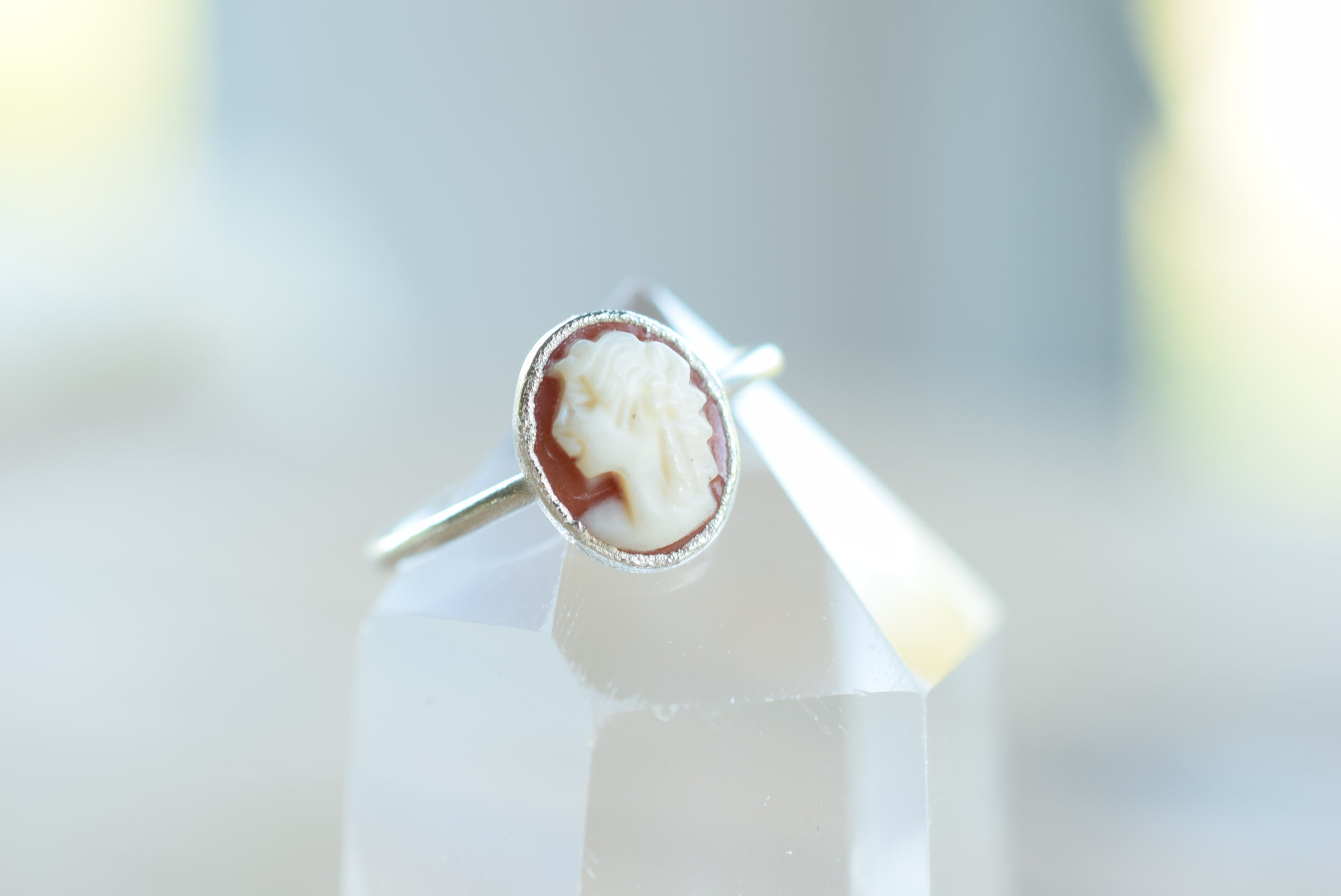 RECLAIMED ANTIQUE/VINTAGE SHELL CAMEO RING IN FINE SILVER