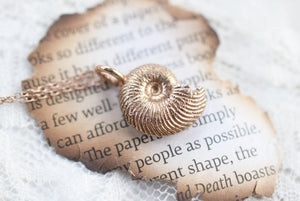BRITISH AMMONITE FOSSIL NECKLACES IN ROSE GOLD AND FINE SILVER