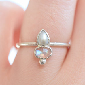 ROSE CUT MOONSTONE AND PEARL RING IN FINE SILVER