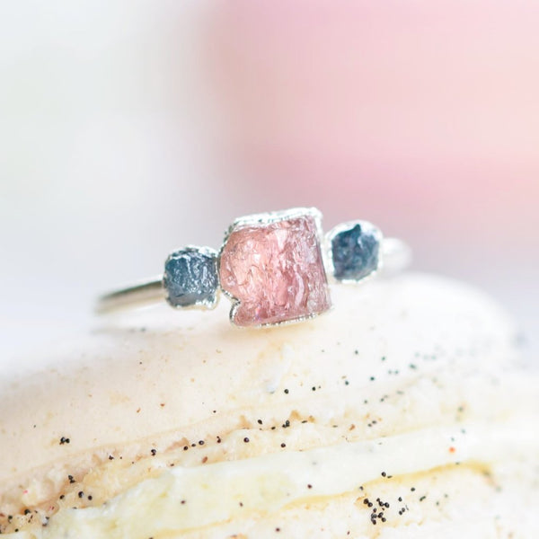 PINK TOPAZ AND ROUGH BLUE DIAMOND RING IN FINE SILVER