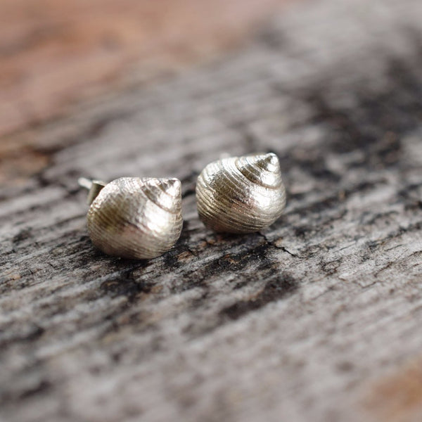REAL BRITISH SHELL STUD EARRINGS IN FINE SILVER