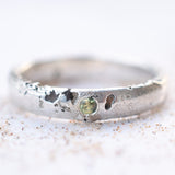Green sapphire textured Sterling eco silver ring band