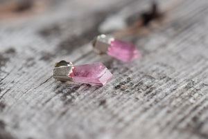 FACETED PINK TOURMALINE STUD EARRINGS IN FINE SILVER