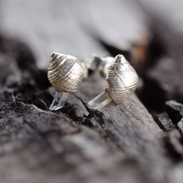 REAL SHEL AND CRYSTAL STUD EARRINGS IN FINE SILVER