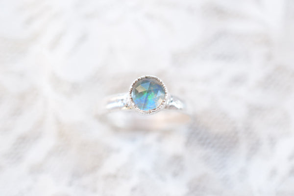 UNISEX WIDE BAND ROSE CUT QUARTZ AND OPAL RING IN FINE SILVERUK (Size T/US size 10)