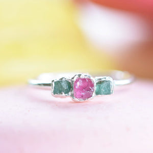 RAW PINK TOURMALINE AND EMERALD RING IN FINE SILVER