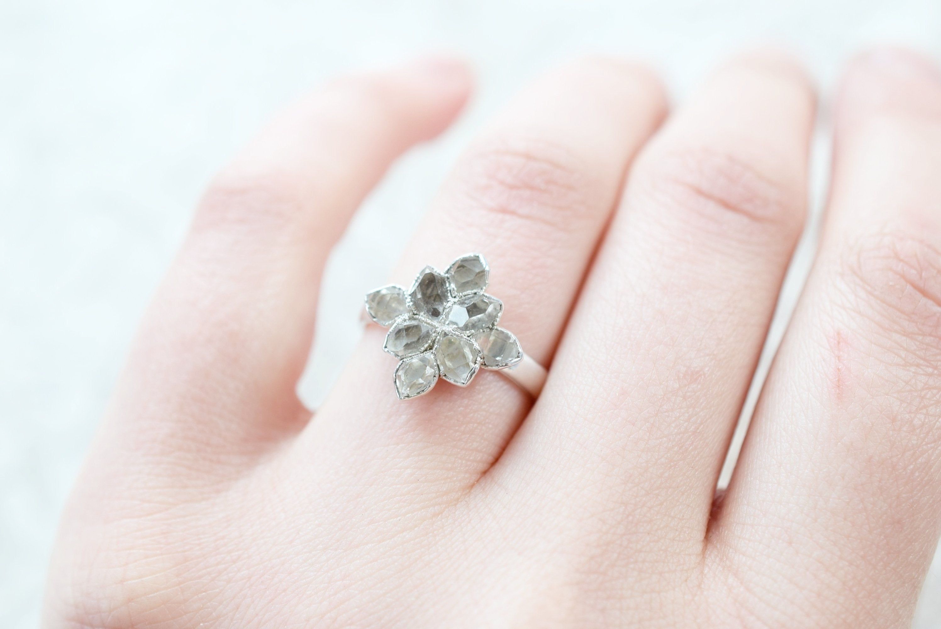 HERKIMER DIAMOND 'NORTH STAR' RING FINE SILVER